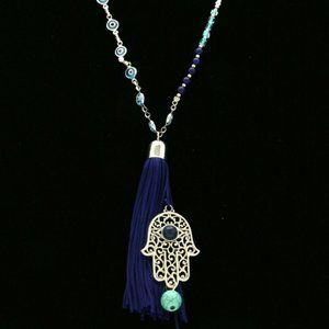 Express beaded blue and silver hand/eye necklace